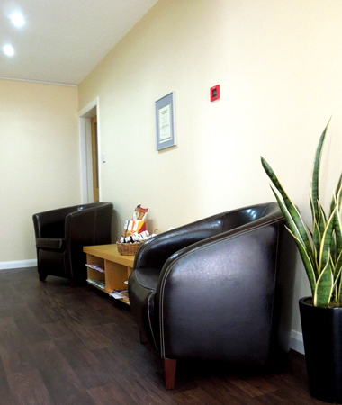 Reception area in colonic hydrotherapy clinic